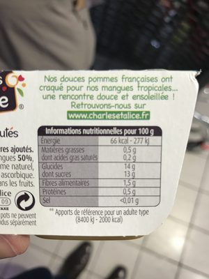 Charles & Alice pomme mangue 4x100g promo - Ingrediënten - fr