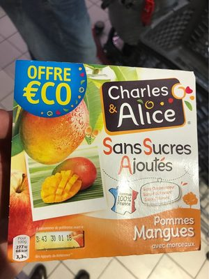 Charles & Alice pomme mangue 4x100g promo - Informations nutritionnelles - fr