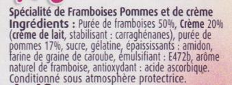 Mousse de Framboises (Offre découverte) - Ingrédients