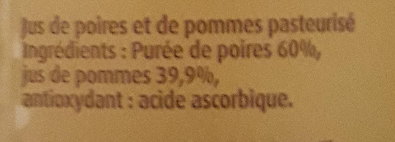 Jus de pomme poires - Ingrédients