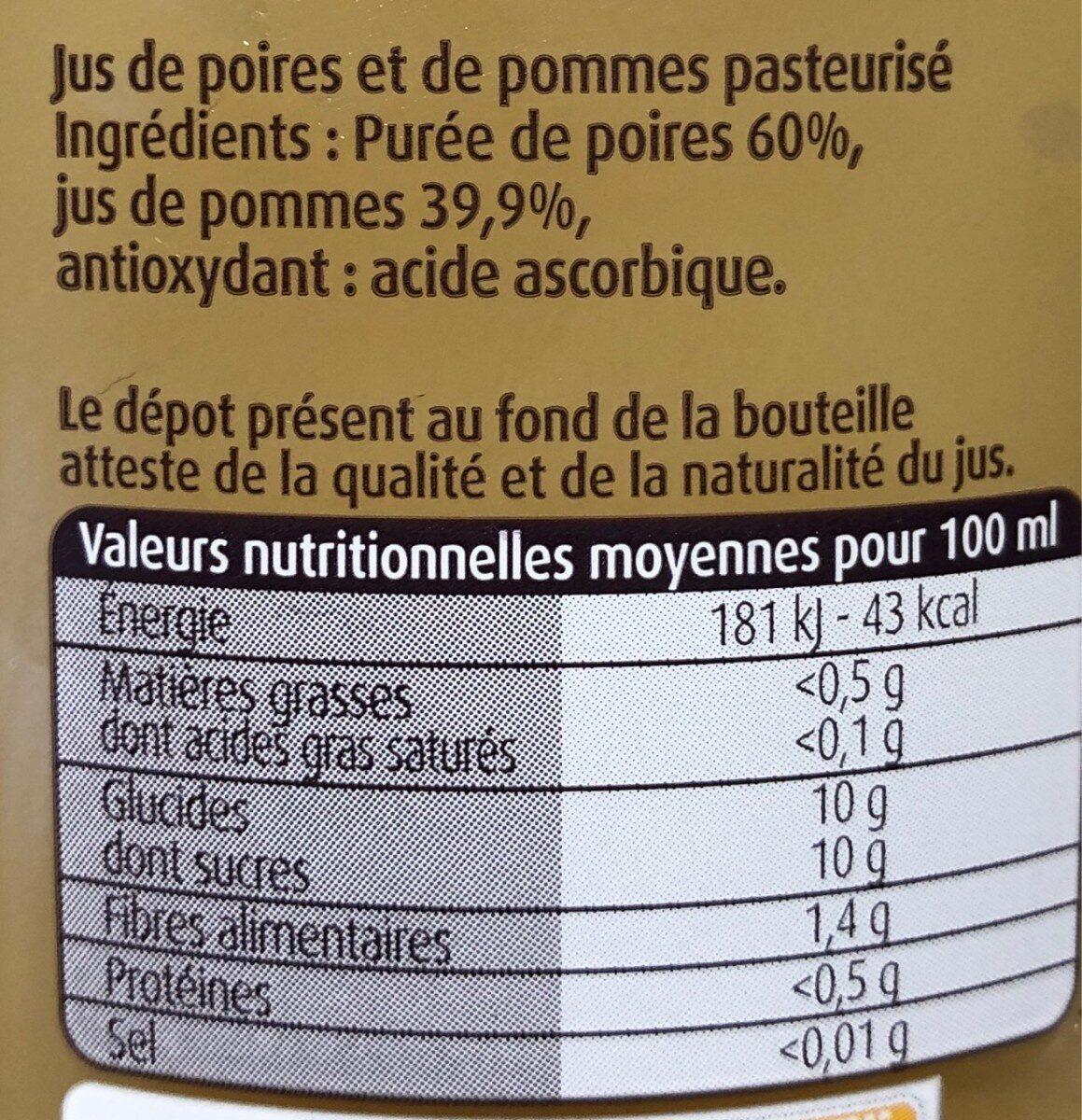 Jus de pomme poires - Informations nutritionnelles