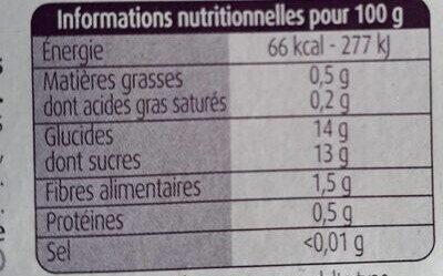 Pommes Mangues avec morceaux - Nutrition facts - fr