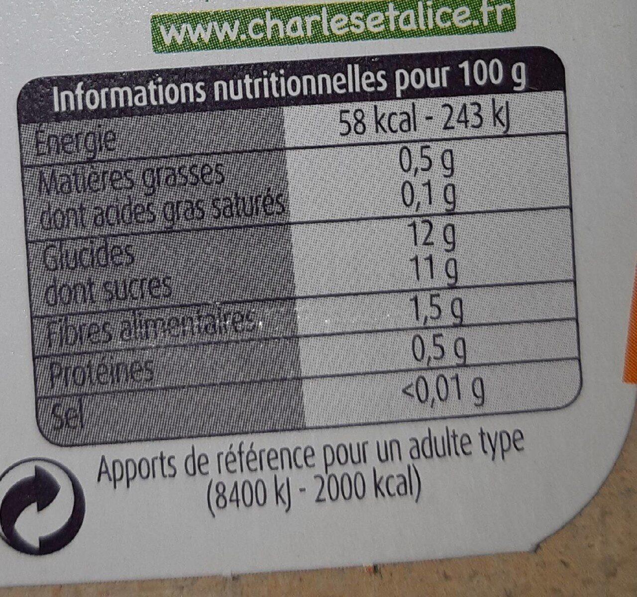 Pommes abricots bergeron SSA - Información nutricional - fr