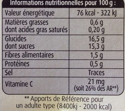 Pommes, Fraises Mara des Bois - Informations nutritionnelles
