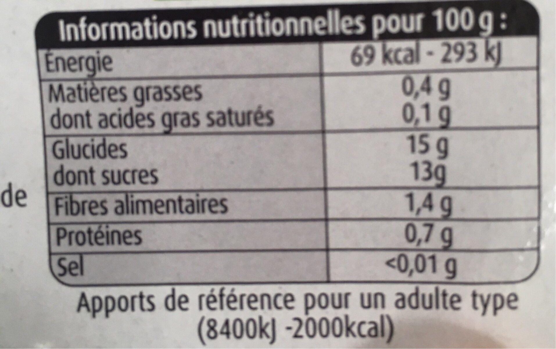 Pommes bananes vanille - Informations nutritionnelles - fr