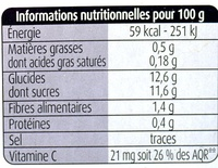 Pommes kiwis sans sucres ajoutés - Informations nutritionnelles