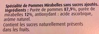 Spécialité de pommes mirabelles sans sucres ajoutés - Ingrédients