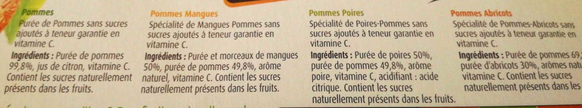 Panaché de Compotes sans Sucres Ajoutés - Ingrédients