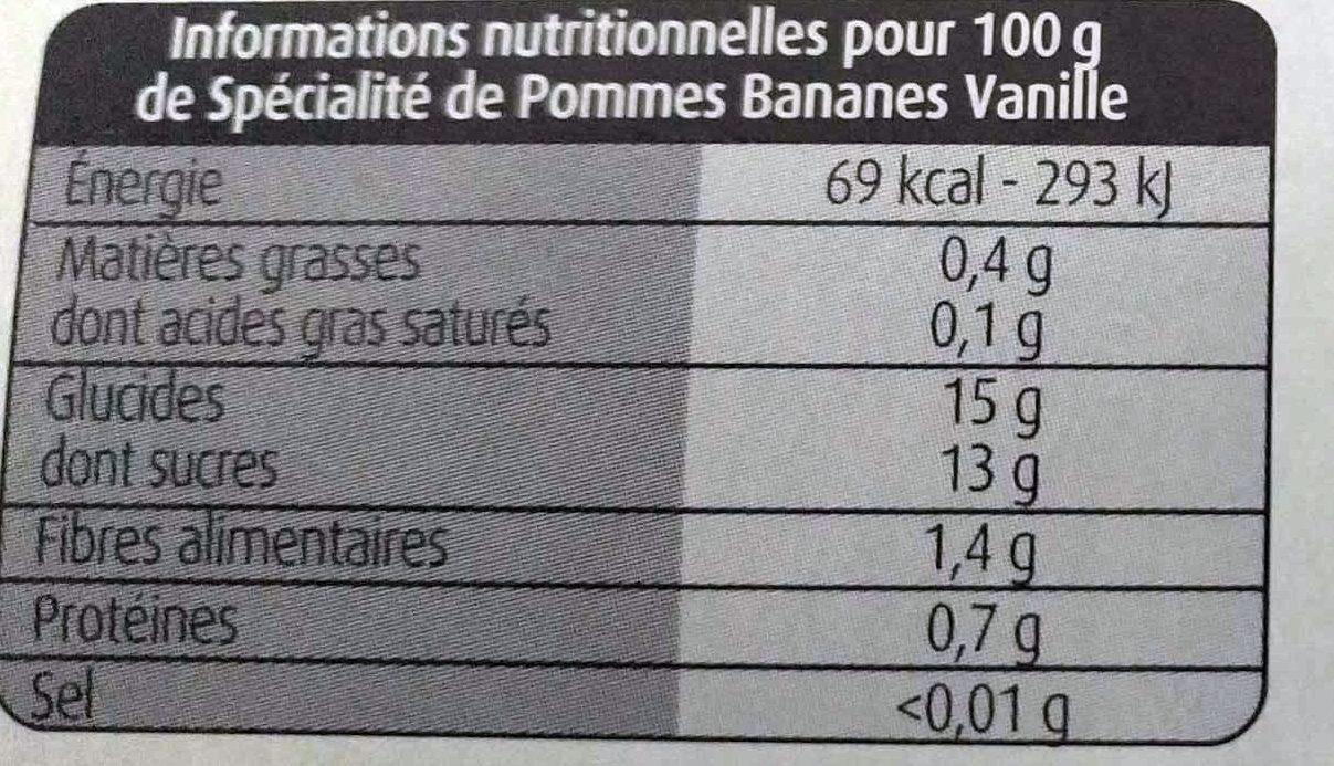 Compotes Pommes Bananes Vanille et Pommes Sans Sucres Ajoutés - Informations nutritionnelles - fr