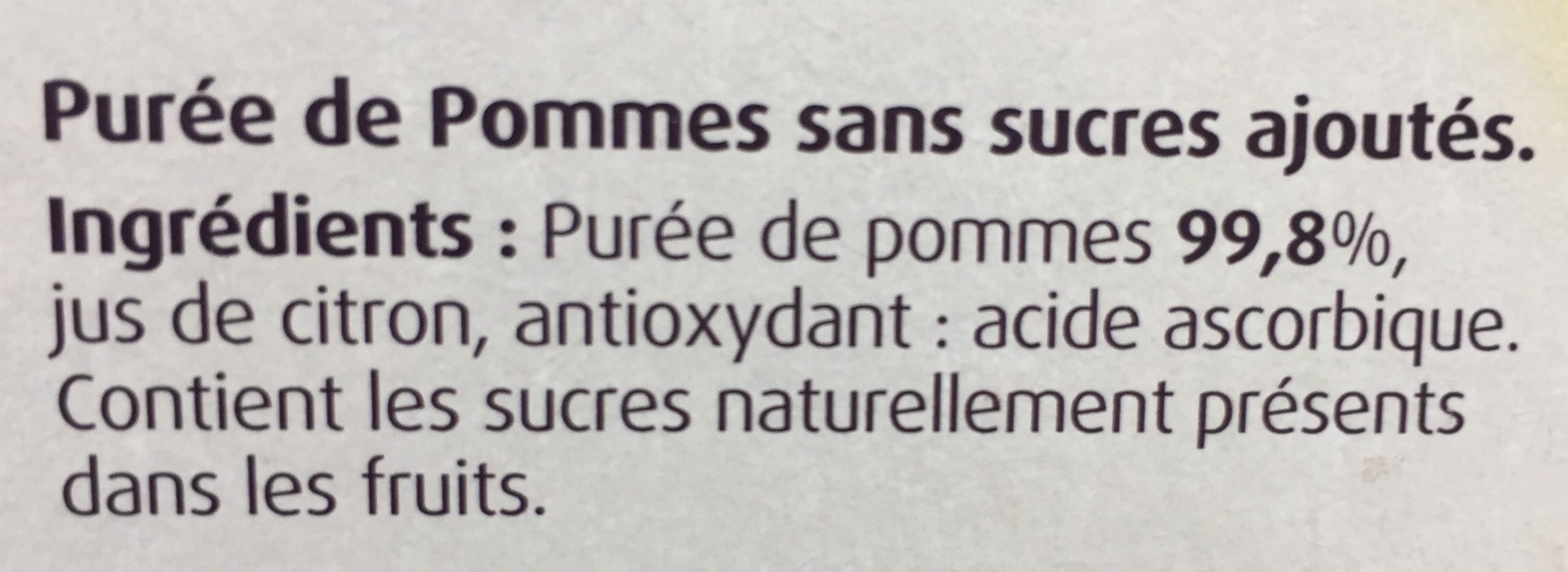 Pomme nature sans sucre ajouté - Ingrédients - fr