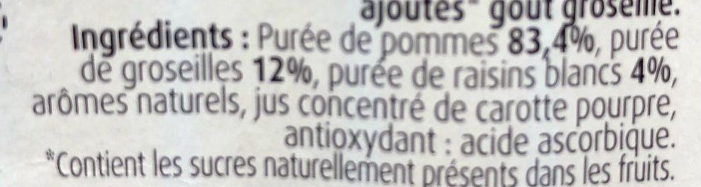 Pomme Groseilles Sans Sucres Ajoutés - Ingrediënten