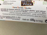 Spécialité de Pommes-Abricots - Ingrédients - fr