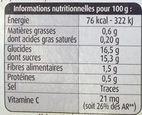 Sélection Pommes, Fraises Mara des Bois - Informations nutritionnelles