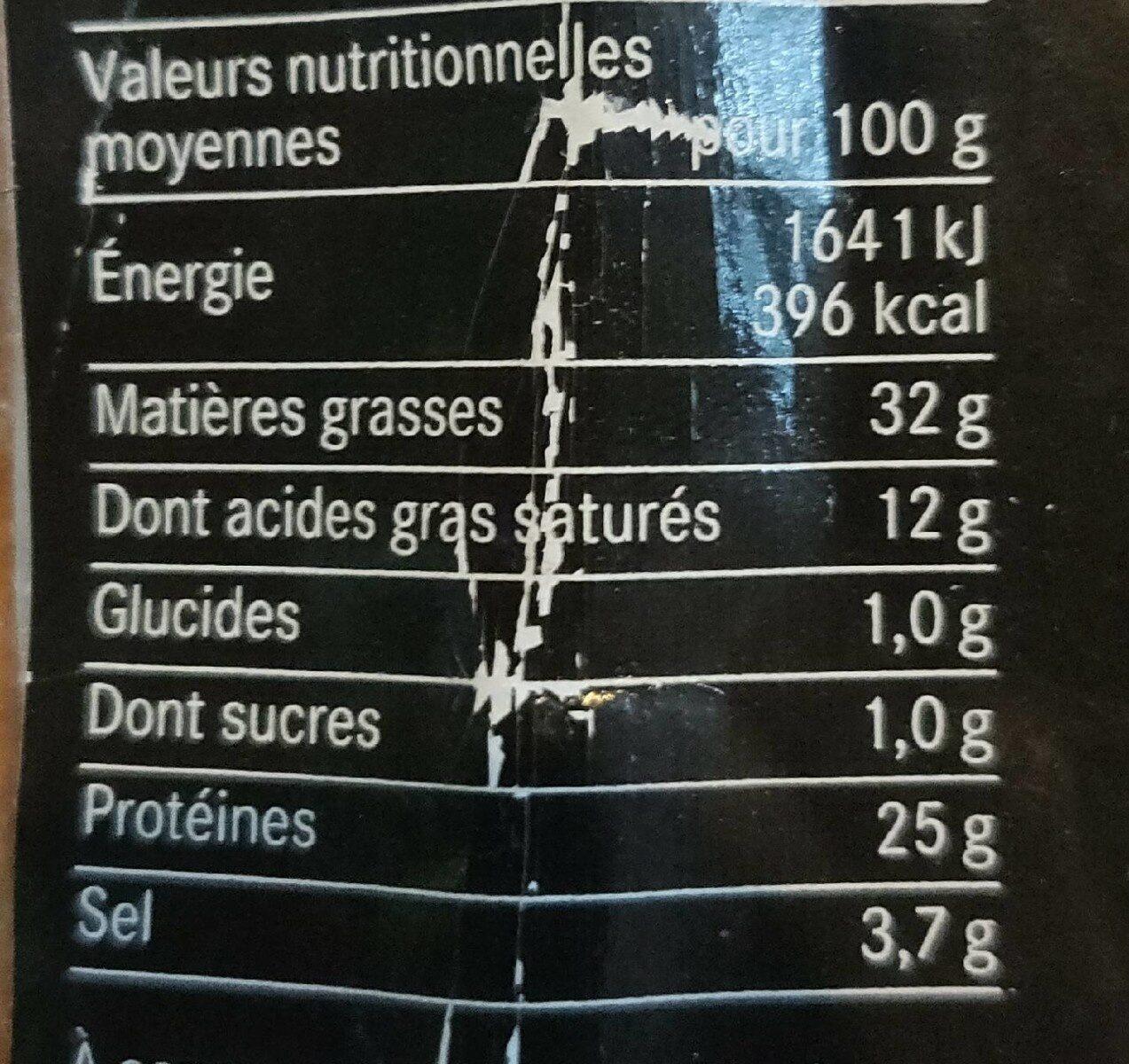 Saucisson sec aux chanterelles - Informations nutritionnelles - fr