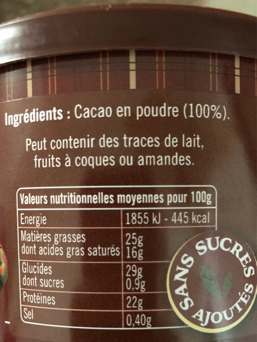 Chocolat Elot - pur cacao - Ingrédients - fr