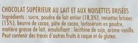 Chocolat au lait et aux noisettes - Ingrédients