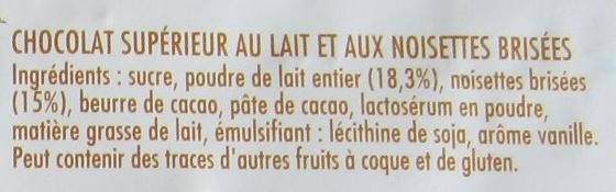 Chocolat au lait et aux noisettes - Ingredients - fr