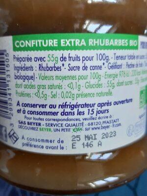 Beyer rhubarbe Bio - Informations nutritionnelles - fr