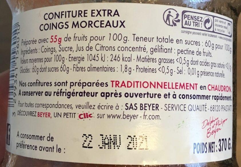 Confiture Extra coings morceaux - Ingrediënten