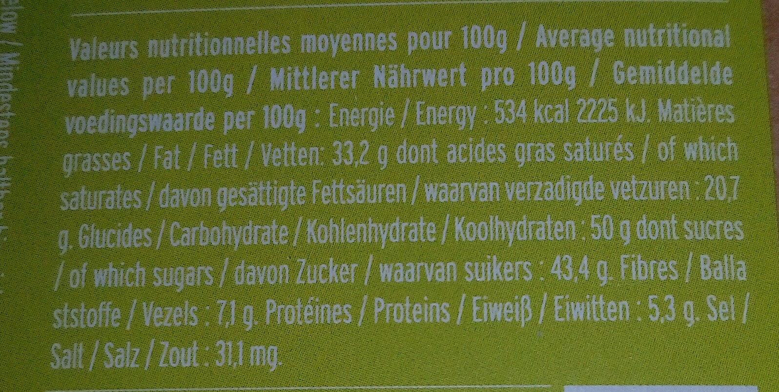 Chocolat noir spéculoos citron - Nutrition facts - fr