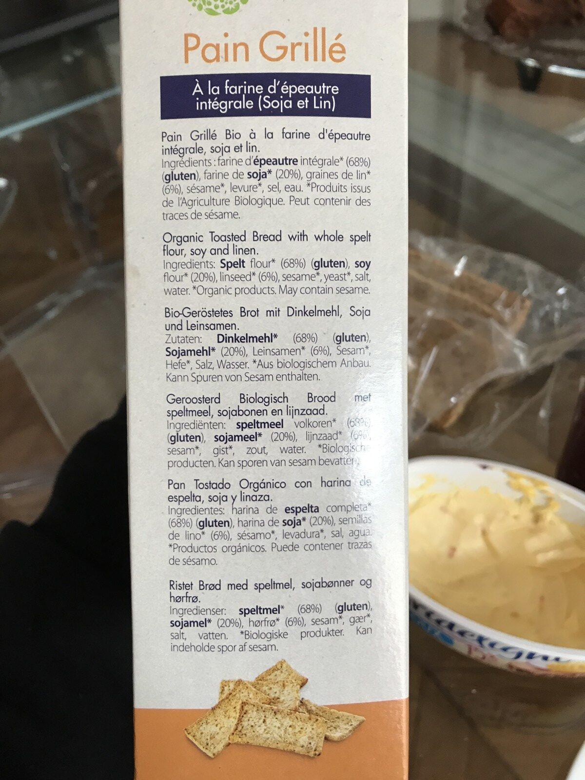 pain grillé à la farine d'épautre intégrale (Soja et Lin) - Ingredients