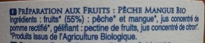 Pêche Mangue Bio - Ingrédients - fr