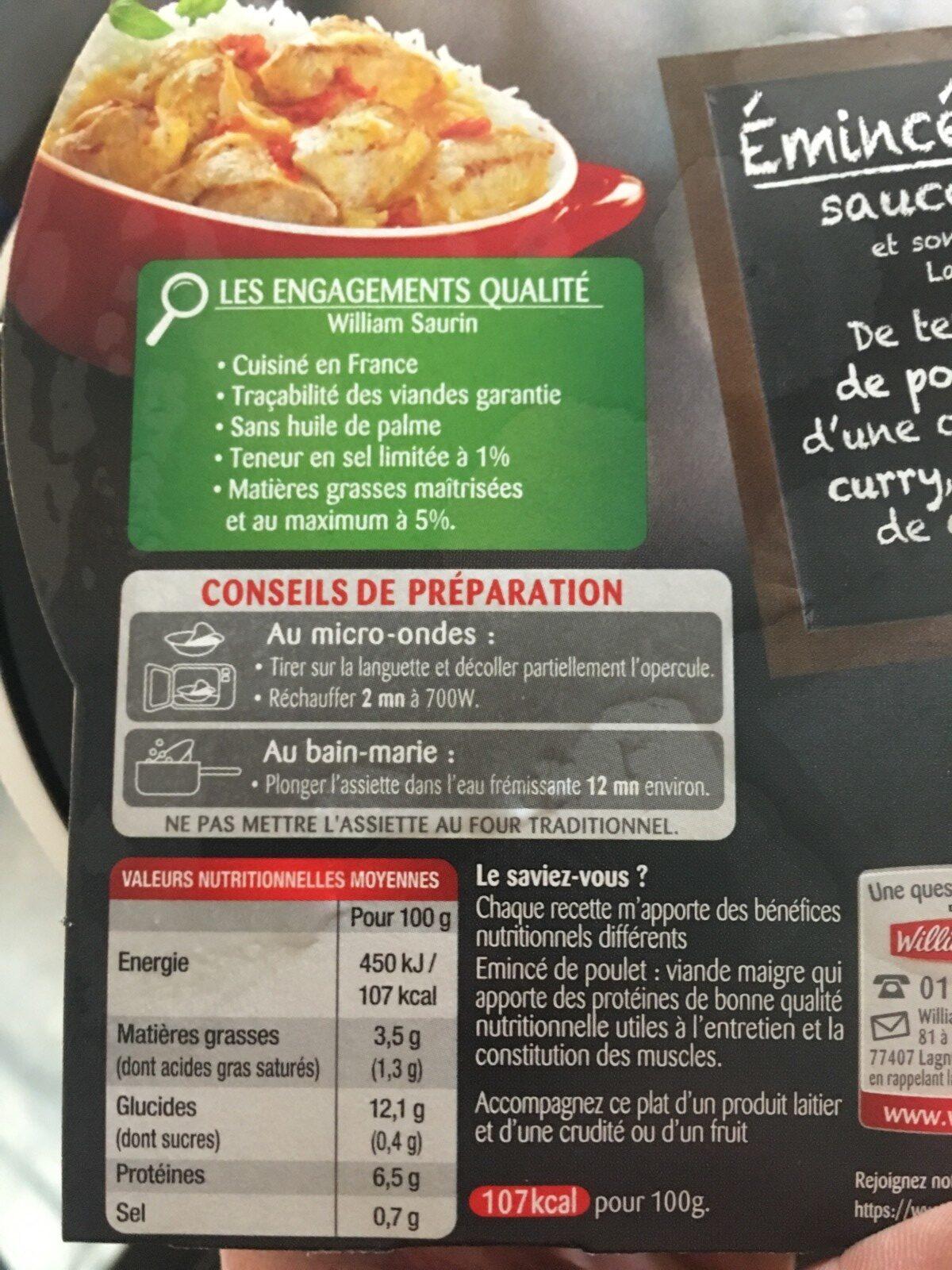 Emincé de Poulet Sauce Curry et Son Riz Basmati - Ingrédients