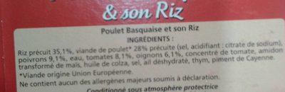 Poulet Basquaise et son riz - Ingrédients