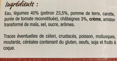 Velouté de potiron châtaigne - Ingredientes