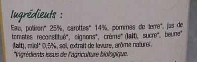 Velouté potiron carottes miel bio - Ingrédients - fr