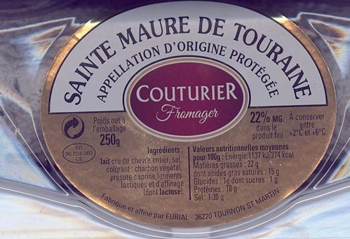 Fromage de chevre au lait cru sainte maure de touraine - Ingredients - fr
