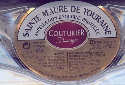 Fromage de chevre au lait cru sainte maure de touraine - Nutrition facts