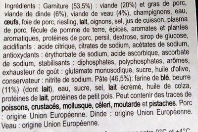 Tourte des Écoliers aux 3 Viandes - Ingrediënten - fr