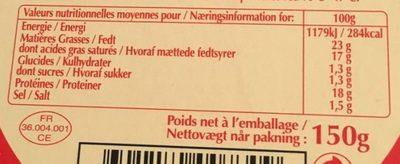 Selles Sur Cher Sous Blister 23 % - Informations nutritionnelles - fr