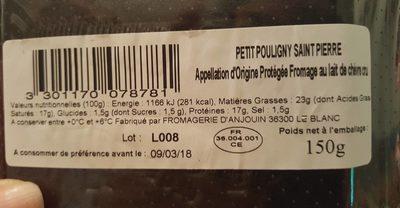 Pouligny Saint Pierre - Informations nutritionnelles - fr
