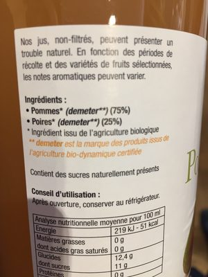 75CL Jus Pomme Poire - Ingredients - fr