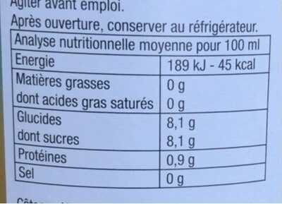 Jus 3 Agrumes - Informations nutritionnelles