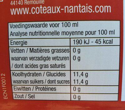 Jus de pomme bio Côteaux Nantais - Informations nutritionnelles - fr
