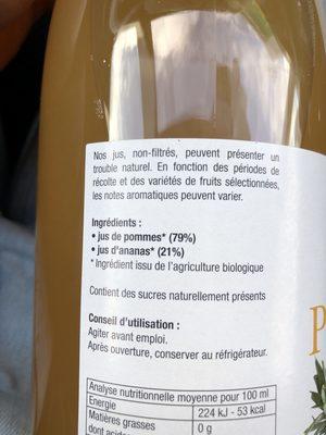Jus pommes ananas - Ingrédients - fr