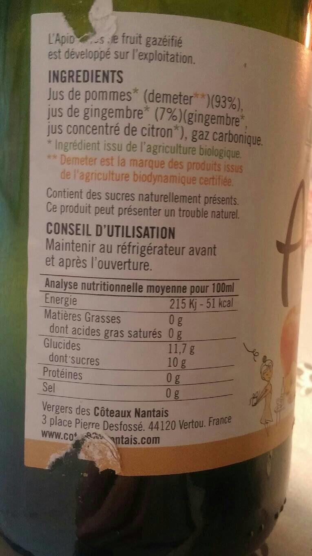 Apibul pomme/gingembre - Informations nutritionnelles - fr