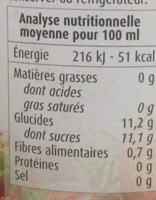 Nectar de fraise - Nutrition facts