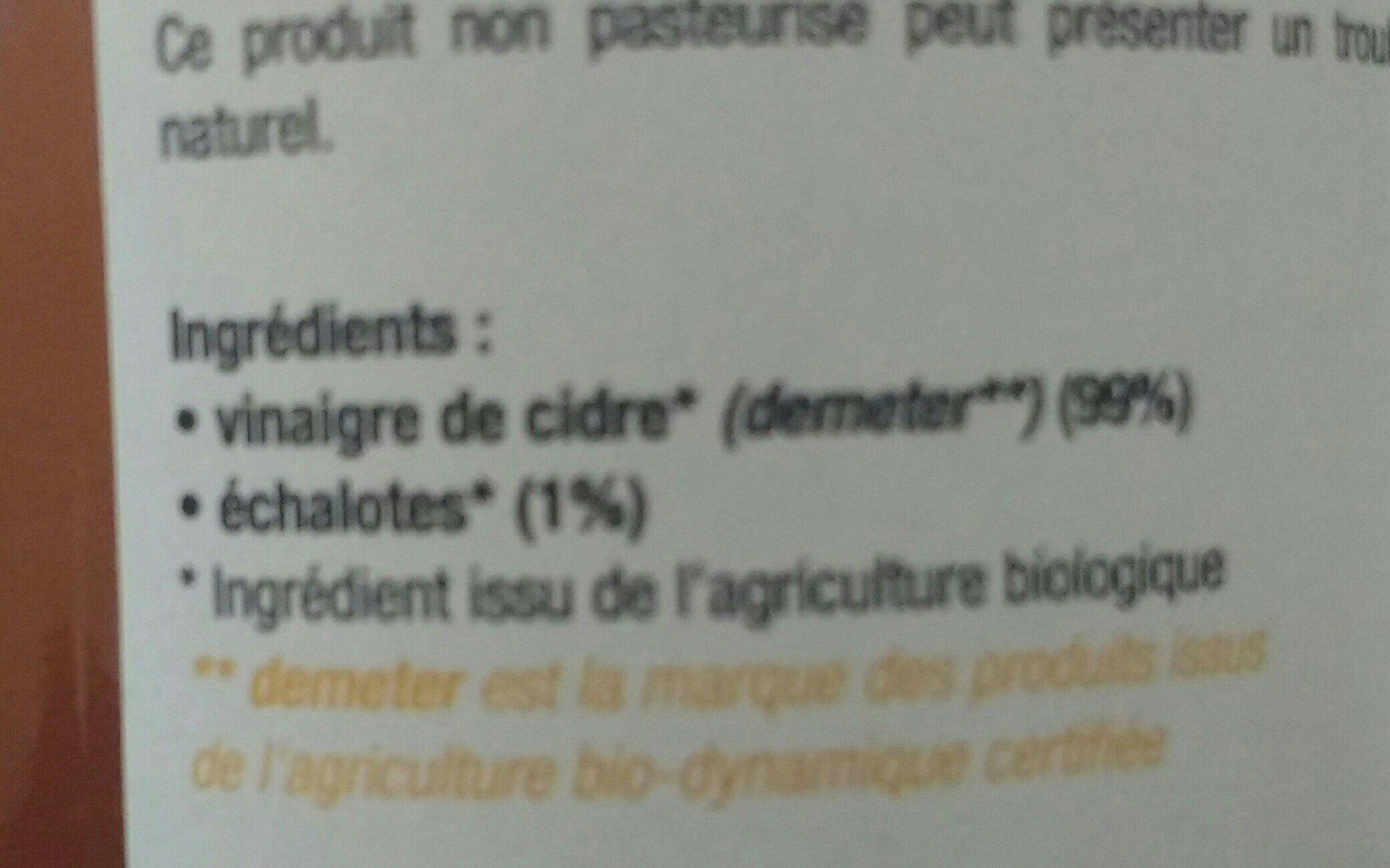Vinaigre de cidre aux échalotes - Ingredients