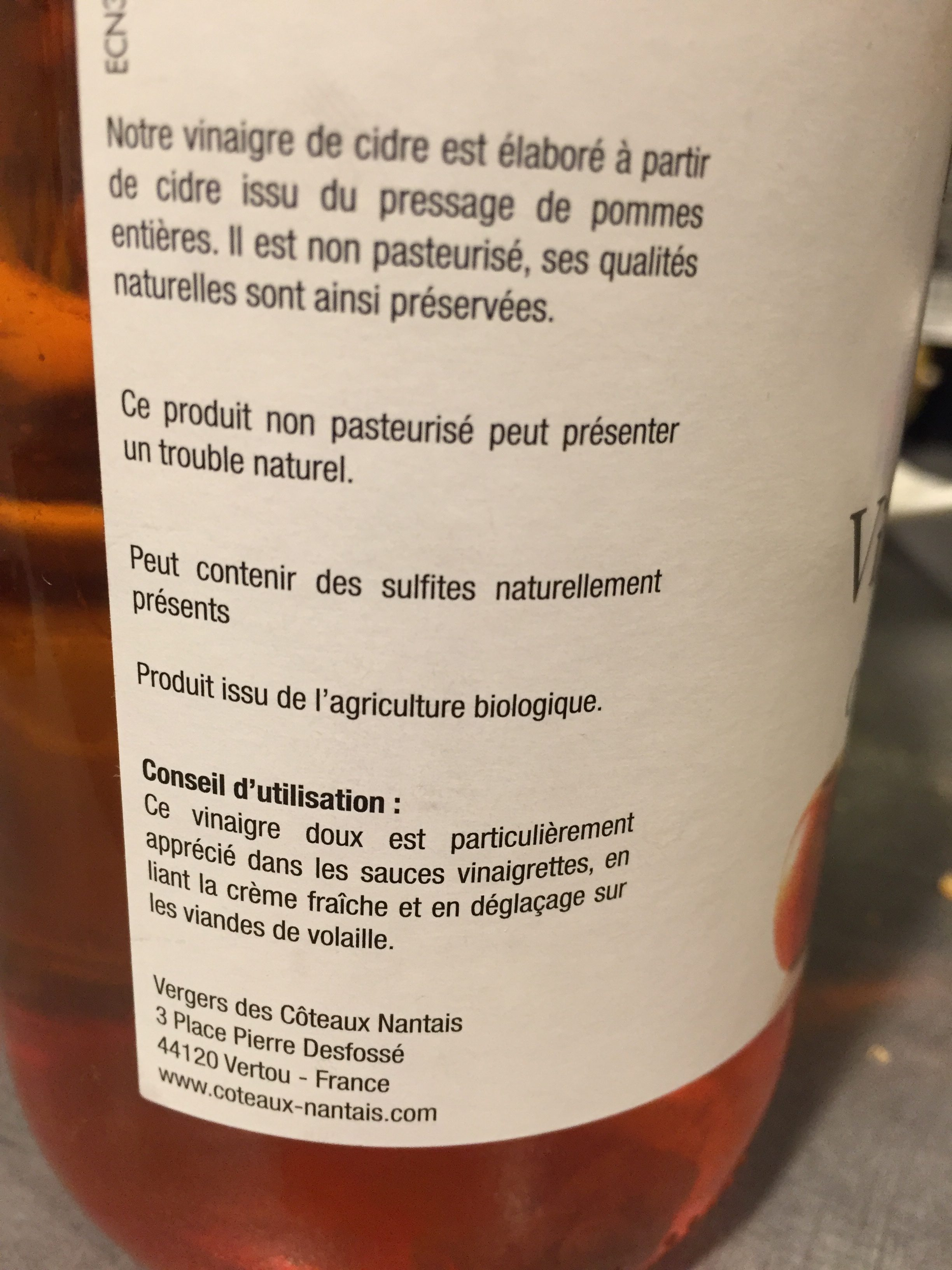 Vinaigre de cidre - Ingredients