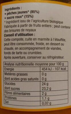 Compote de pêches jaunes avec morceaux - Valori nutrizionali - fr