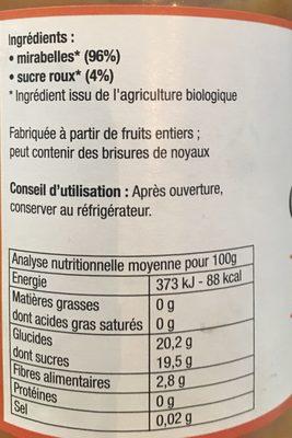 Compote De Mirabelle Avec Morceaux - Ingrédients - fr