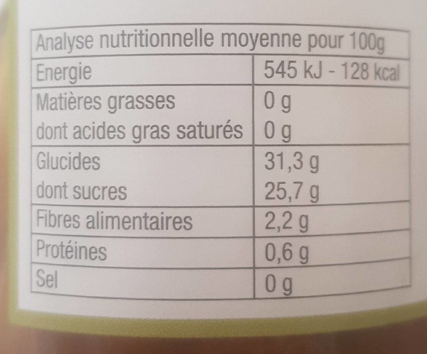 Compote De Rhubarbe - Nutrition facts - fr