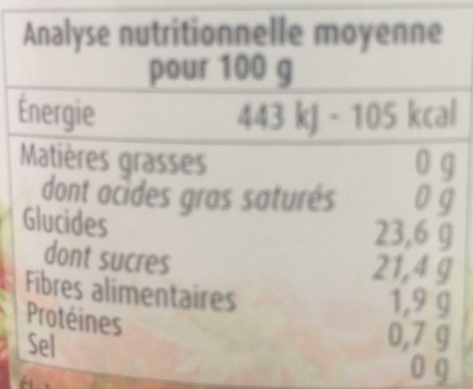 Compote de fraise avec morceaux - Informations nutritionnelles