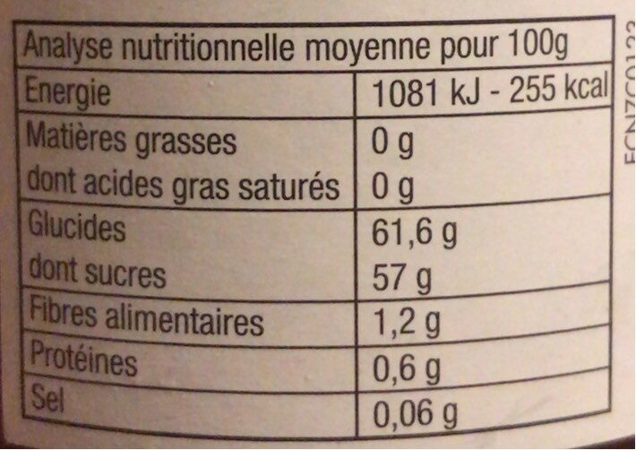 Confiture Fraise / Rhubarbe - Nutrition facts - fr