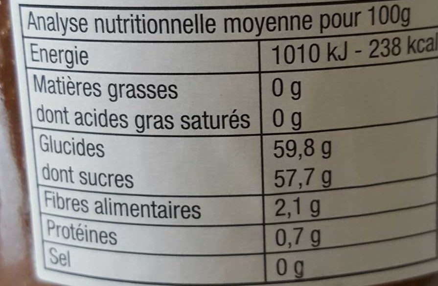 Confiture Rhubarbe Extra - Informations nutritionnelles