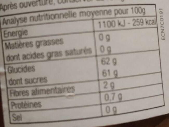 Confiture fraises framboises - Informations nutritionnelles - fr